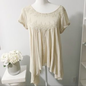 Free People Lace Embroidered White Cream Top Boho